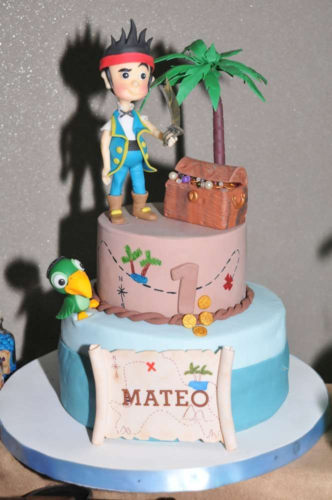 Fun cake at a Jake and the Neverland Pirates birthday party! See more party planning ideas at CatchMyParty.com!