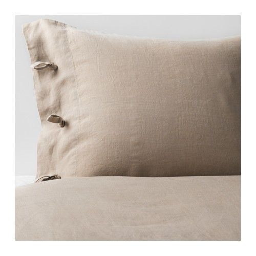 IKEA-Linblomma-King-Size-100-Linen-Natural-Beige-Duvet-Cover-2-Pillow-Covers