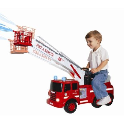 The ultimate fire truck for your little one, this Action Fire Engine Ride-On features all the bells, whistles and blinking lights that you'd expect to find on the real thing. Sturdy design has moving crane, siren, and squirting water for hours of fun.