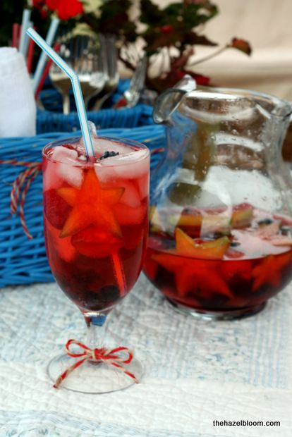 Fourth of July Sangria - with star fruit, natch!