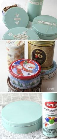 """DIY - Upcycling old Tins. Spray paint used was Krylon's Indoor/Outdoor Satin """"Catalina Mist"""" color. Step-by-Step Tutorial."""