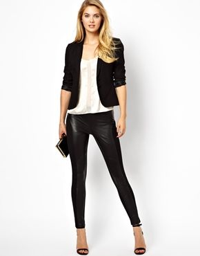 Ted Baker Leggings with Contrast Leather Panels
