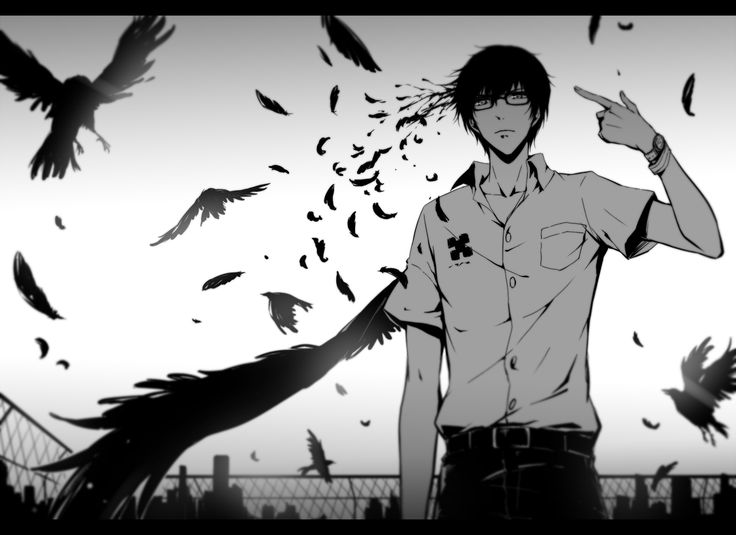 Anime picture 				1300x946 with  		zankyou no terror 		kokonoe arata 		mir (pixiv) 		single 		short hair 		black hair 		looking at viewer 		fringe 		monochrome 		white shirt 		male 		wings 		glasses 		shirt 		animal 		belt 		bird (birds) 		feather (feathers) 		watch 		fence