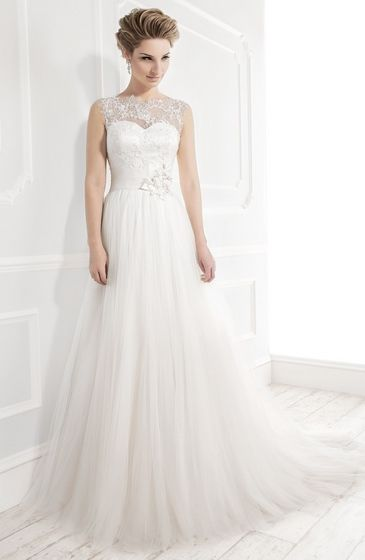 Style:19033 soft romantic tulle gown lace overlay neckline keyhole back