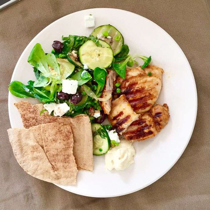 G R I L L E D harissa chicken with green salad; courgette, mint, feta, olives and other things i like