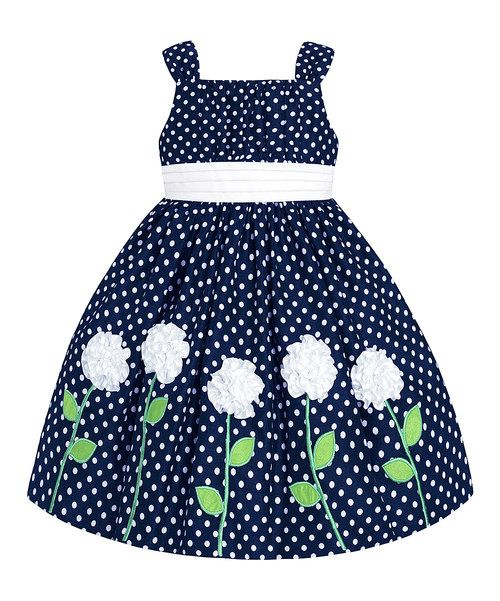 Take a look at the Navy & White Polka Dot Floral Dress - Girls on #zulily…