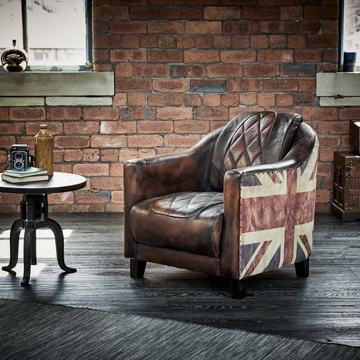 Wallace Sacks Brown/Multi Union Jack Leather Armchair                                                                                                                                                      More