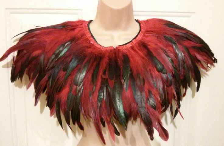 Handmade red iridescent feather collar cape caplet by Koolies Kreations at IAMA