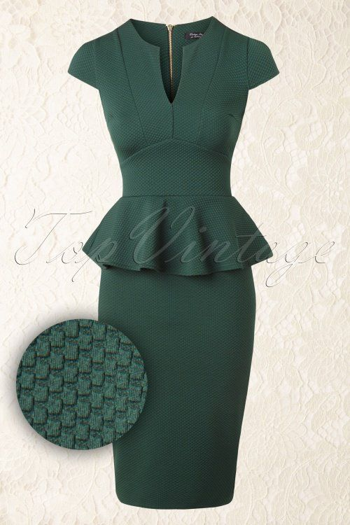 Vintage Chic Racing Green Peplum Pencil Dress 100 40 16415 20150908 0012W1
