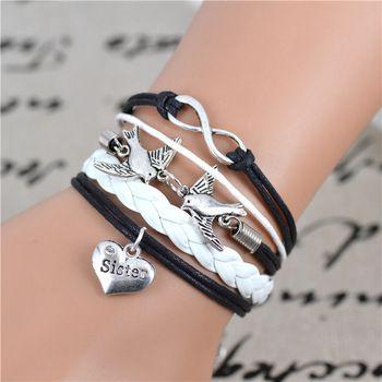 Мода бесконечность, прекрасные птицы, сестра шарм браслет в серебро - воск шнуры и искусственная кожа - настроить - дружба подарок