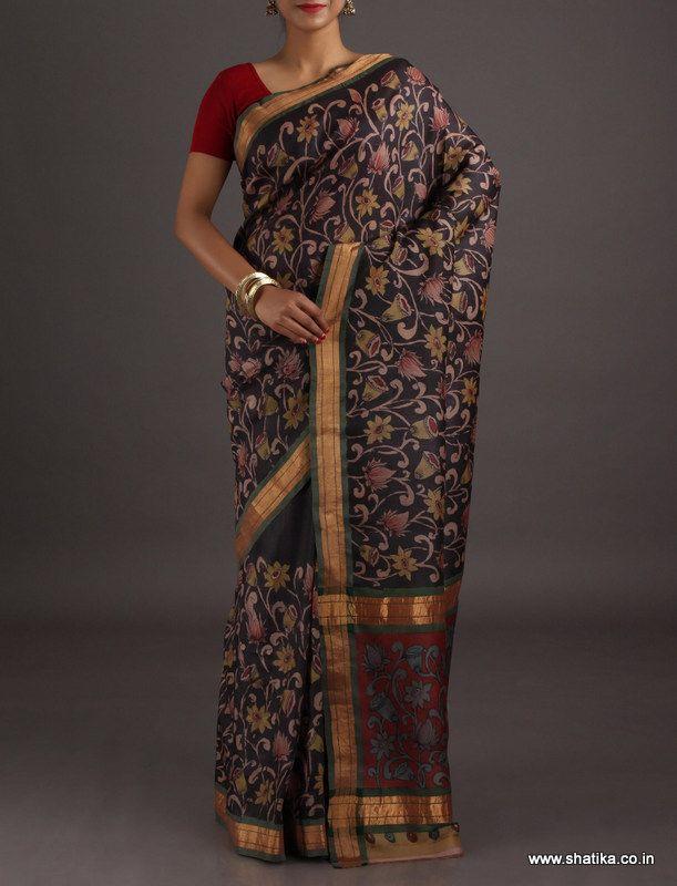 Aadya Bell and Lotus Swish Naturally Dyed Hand-Painted #KalamkariPureSilkSaree