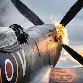 This beautiful image shows a WWII era Spitfire starting its V-12, 27-litre (1,650 cubic inch) Merlin engine. The Merlin was (arguably) the most success...