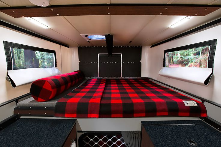 Four Wheel Camper Fleet Cabover Bed with Woolrich blanket, Woolrich Limited Edition Campers, http://www.truckcampermagazine.com/news/woolrich-limited-edition-four-wheel-campers/
