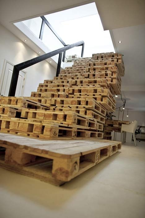 Office design from recycled wooden pallets