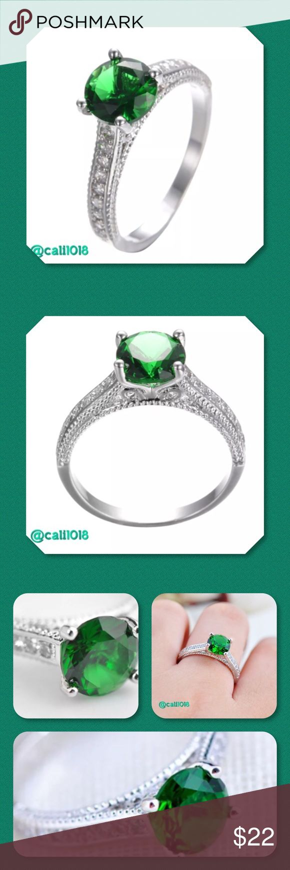 💠CLEARANCE 🆕 White Gold Filled Emerald Ring 💠💠 PRICE FIRM Item Description: Metal: White Gold Filled Main Stone: Green Emerald Ring Weight: 3g Ring Size(approx): 10 Glam Squad 2 You Jewelry Rings