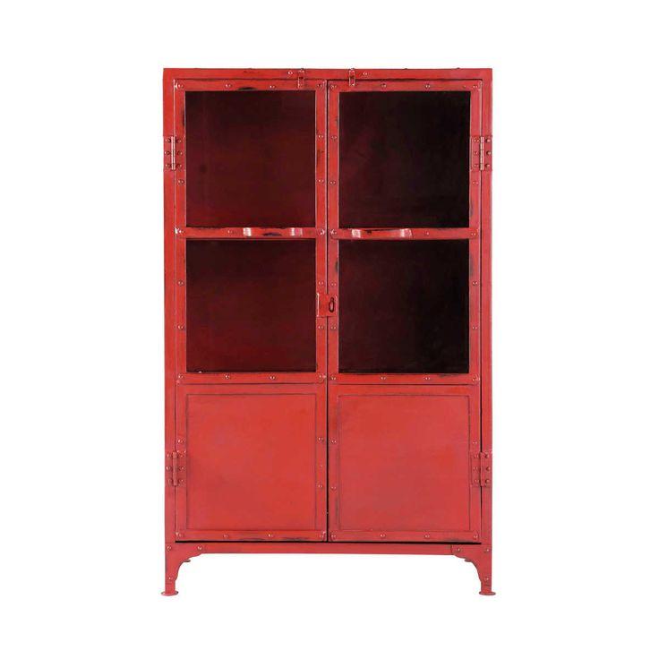 Beistellschrank im Industrial-Stil aus Metall mit Verglasung, B 75cm, rot  Edison