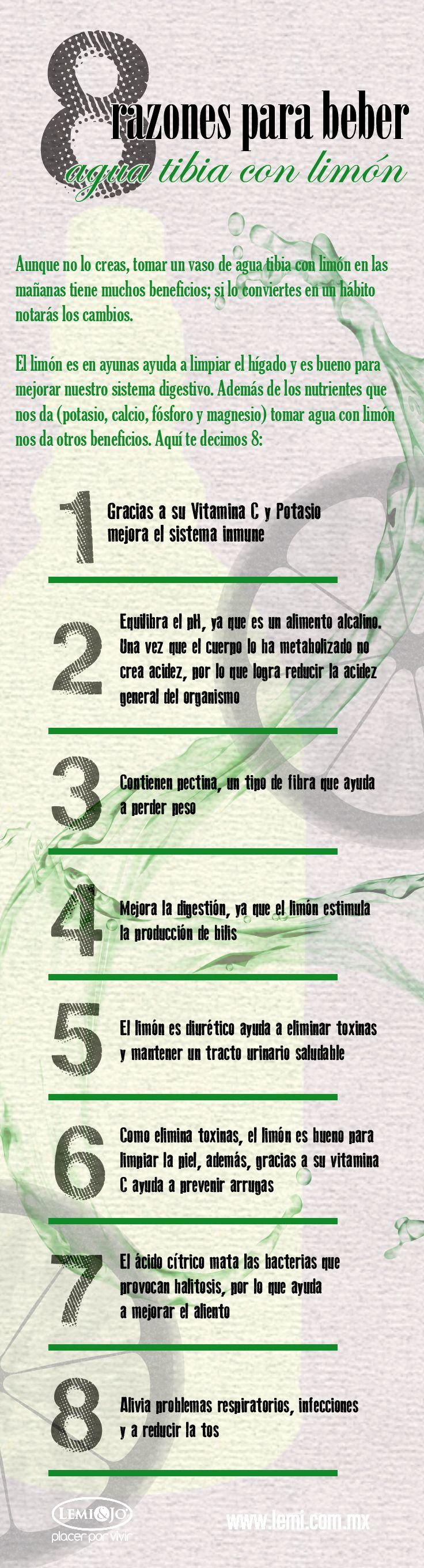 Infografía: 8 razones para tomar #agua tibia con limón. #salud y #bienestar