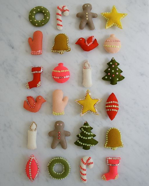 DIY purl bee ornaments. @Grace Wenger  we could use the star and the candle - that's the best candel Idea I've seen. LOVE the sequins!
