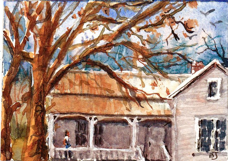 Original ACEO Front Porch Fine Art Miniature Watercolor Painting, Barry Jones #Miniature