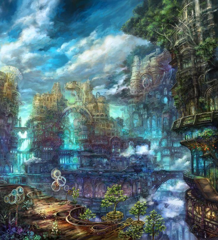 Fantasy Landscape Wallpaper: 169 Best Anime Environment Images On Pinterest