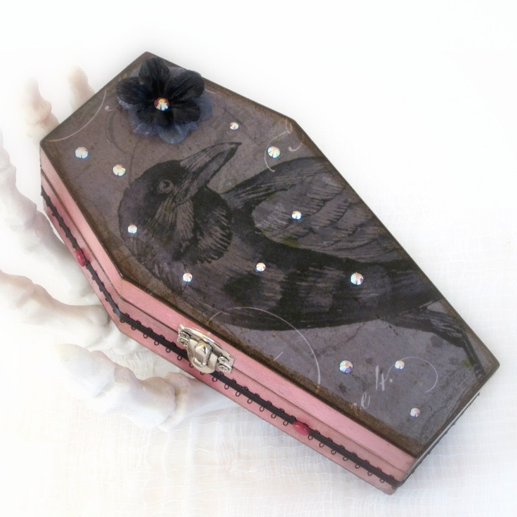 Coffin Box Halloween Raven Decoration Edgar Allen Poe. $32.00, via Etsy.