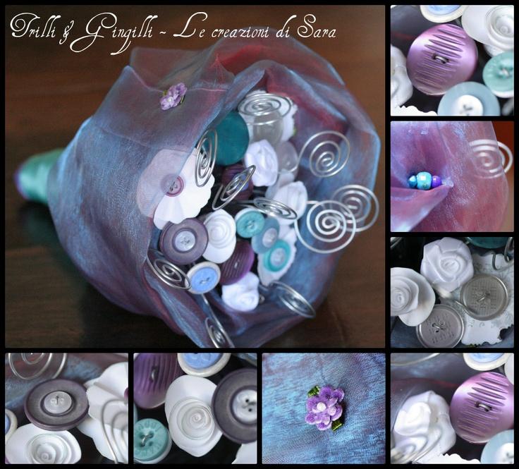 Bouquet Trilli e Gingilli sui toni del viola e verde acqua