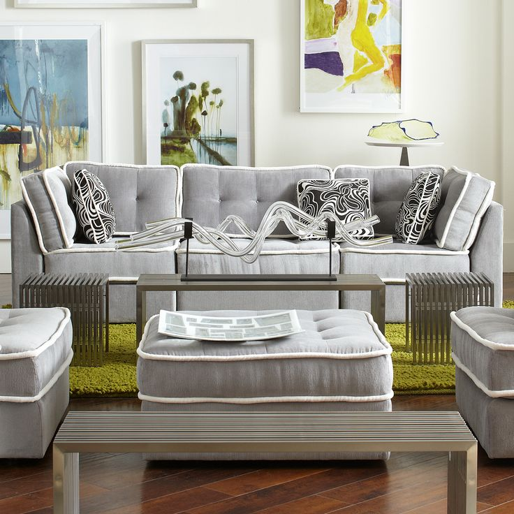 Armless Lounge Living Room With Novel Bench, Living Room Furniture, 2015  CORT Signature Collection