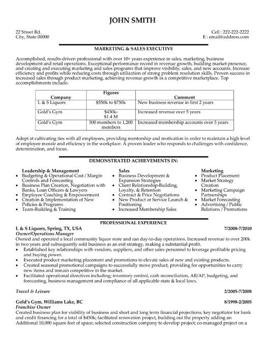 executive sales professional resume template format for and marketing