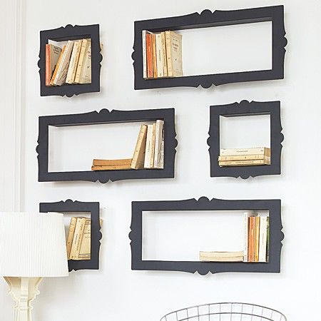 These are awesome book shelves!Ideas, Bookshelves, Book Storage, Bookcas, Wall Shelves, Old Frames, Book Shelves, Shadows Boxes, Pictures Frames