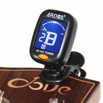 AROMA AT-101 Portable Clip-on Guitar Bass Violin Ukulele Tuner Tuning Sale - Banggood.com