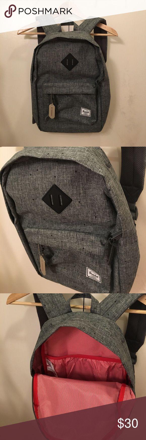 Herschel small grey backpack Brand new grey Herschel Heritage backpack. Original price on Herschel website $60. Approximately 18x12x5 inches - smaller than a normal backpack. Herschel Supply Company Bags Backpacks
