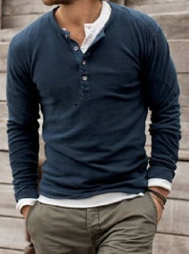 camiseta henley masculina  casualmensfashion  712c19a045a8f