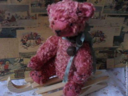Мишка-тедди Барни 22 см - розовый,мишка тедди,мишка ручной работы,мишка в подарок