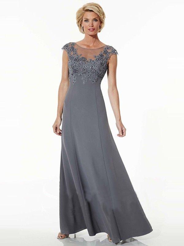 A-Line/Princess Jewel Short Sleeves Floor-Length Chiffon Applique Mother of the Bride Dresses