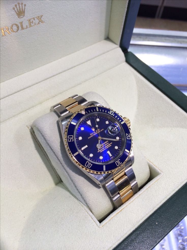 Rolex Submariner Blue  Two tone 18k yellow gold and stainless steel Rolex Submariner   Available at SAATCHI JEWELRY 4545 Austin Blvd Island Park NY
