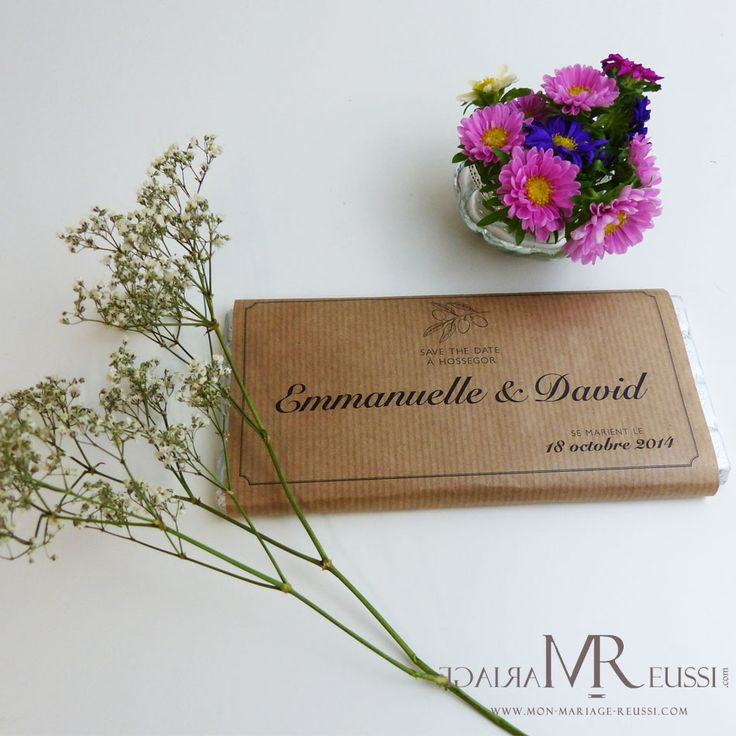 Save the date plaque de chocolat