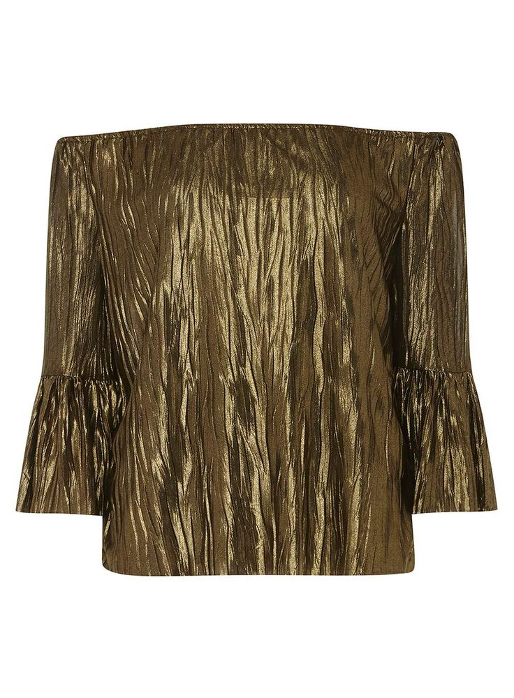 Womens Gold Plisse Pleated Bardot Top- Gold
