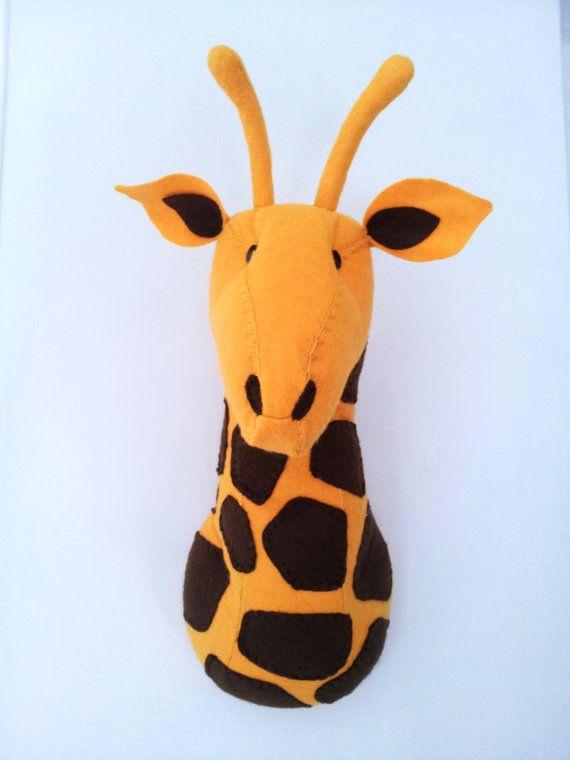 Wall Mounted Animal Heads in Fabric - Giuseppe Giraffe on Etsy, $88.44
