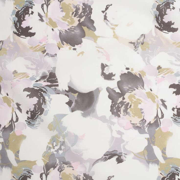 Liberty of London Mistral White/Gray/Pink/Green Silk-Cotton Voile Fabric by the Yard   Mood Fabrics