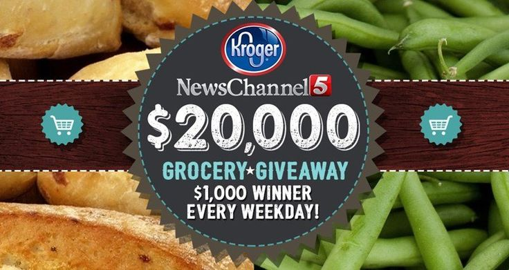 News Channel 5 is giving away $20,000.00 to spend at Kroger! A $1000 winner will be announced every weeknight for a month!    Watch for a new code each weeknight during News Channel 5 at 6 p.m. Go to the site and enter to win a $1000 Kroger gift card...
