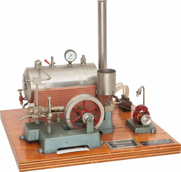 JENSEN LIVE STEAM MODEL POWER PLANT TOY 20 x 17-1/2 x 17-1/2 inches (50.8 x 44.5 x 44.5 cm) Well preserved vintage Jensen model with horizontal boiler, belt-driven engine and generator powering a light bulb