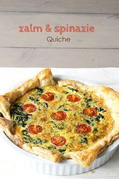 Zalm en spinazie quiche. #zalm #spinazie #quiche