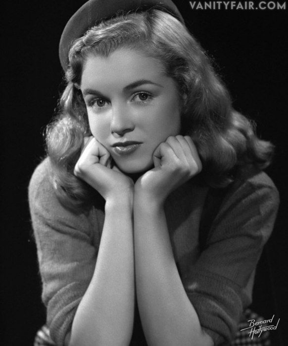 "In her first studio sitting, in 1946. Bruno Bernard first saw Marilyn Monroe (Norma Jeane) outside his dentist's office on Sunset Boulevard. He gave her his card and said, ""Miss, this is strictly professional. I'd like to take some photo tests of you."""