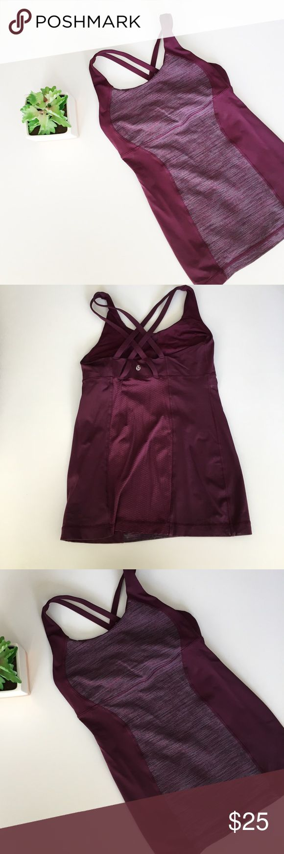 Lululemon Purple Cross Back Workout Tank Lululemon cross strappy back tank size approx 6. No size dot or padding. Length is 24 inches, bust 14 inches. No stains or holes, smoke and pet free home! Offers welcomed! lululemon athletica Tops Tank Tops
