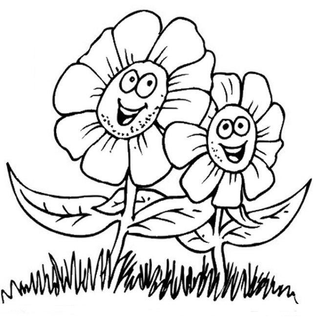 Cute Coloring Pages Of Flowers Little Cat With Spring Flower Photos Becoloring For Boys
