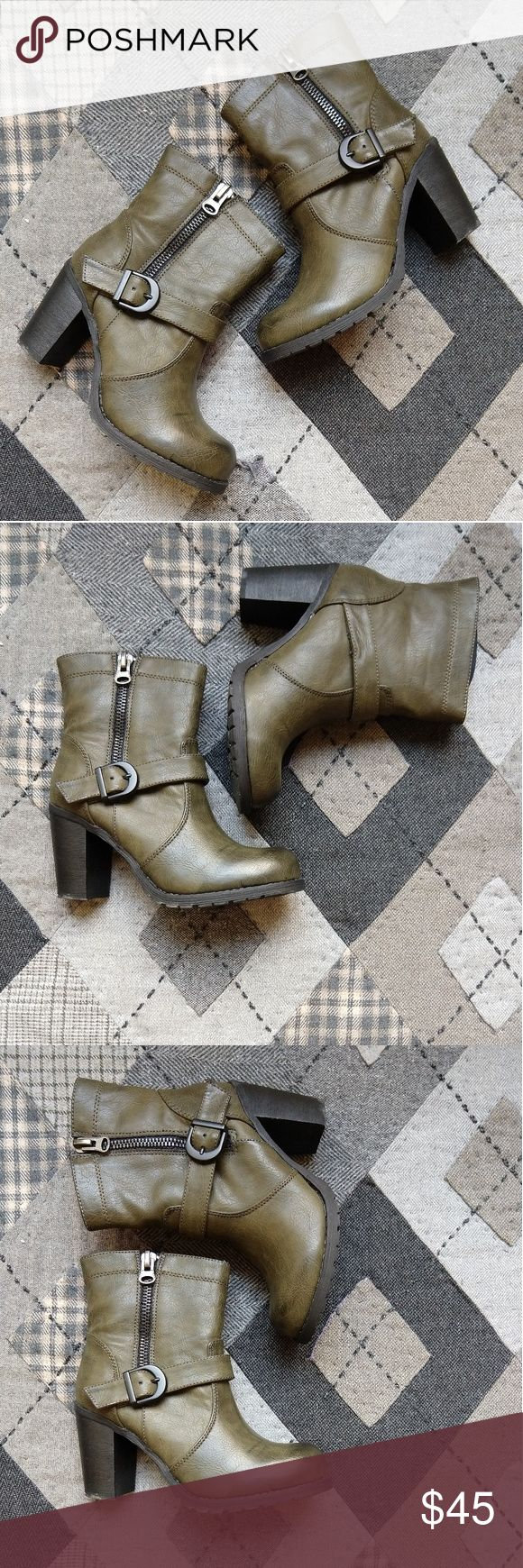 Modern Rebel Lug Sole Zip Buckle Vegan Short Boot Ugh so gorgeous. Olive green. Functional buckles, zippers pull smooth. Grippy soles. Very gently worn, wish I was a 7! modern rebel Shoes Heeled Boots