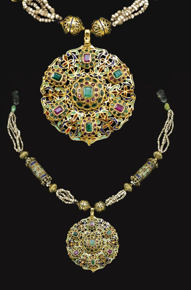 Morocco | 'Tazra' ~ Gem-set, enamel, seed pearl gold necklace | 18th century…