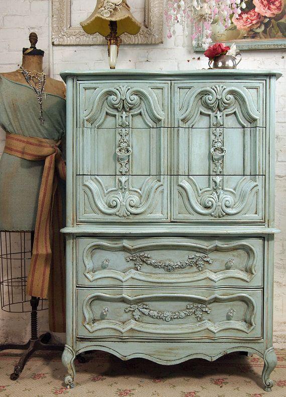 Green vintage dresser