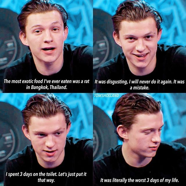 [NEW] Tom during his LIVE Q&A stream on Spider-man's official Facebook page today! – Tom talks about his experiencing eating a cooked rat (on a steak?). What was Tom thinking? Apparently he thought it was cool.  – @tomholland2013 | #tomholland #hollanders