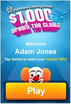 We don't condone the drowning of clowns, but when there's the chance to win $1,000.00 attached, we're okay with it. Download the PCH VIP App NOW for your iPhone or Android device & play this fun game & others!: Win 100000